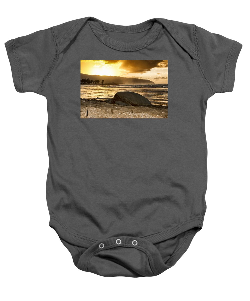 Green Sea Turtle Baby Onesie featuring the photograph Green Sea Turtle At Sunset V2 by Douglas Barnard