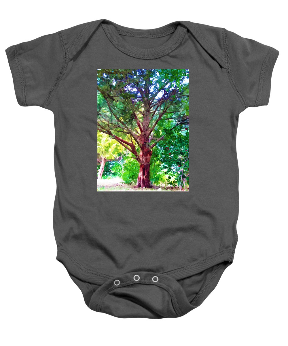 Tree Baby Onesie featuring the painting Green Tree by Jeelan Clark