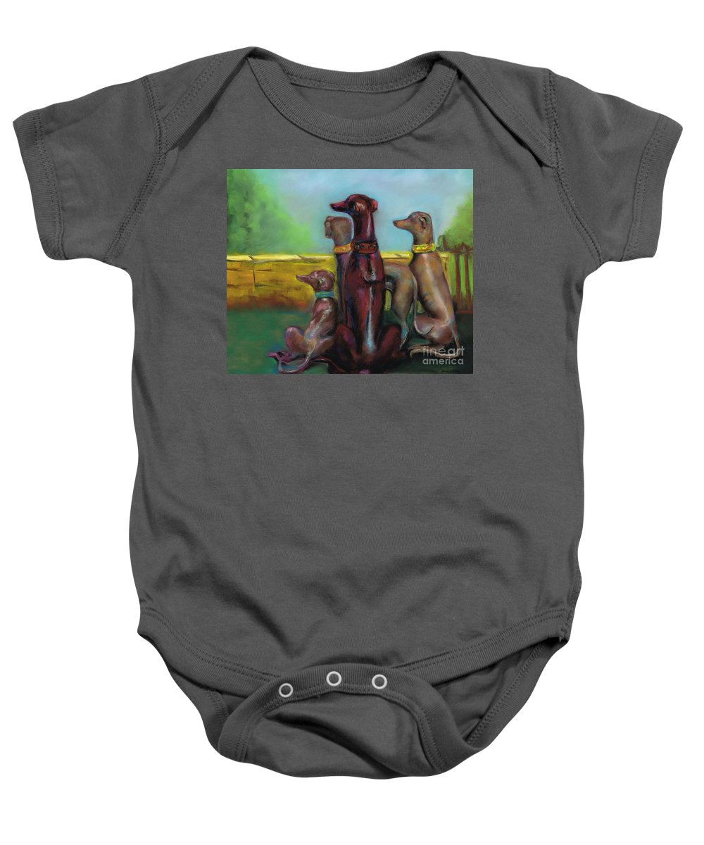 Greyhound Baby Onesie featuring the painting Greyhound Figurines by Frances Marino