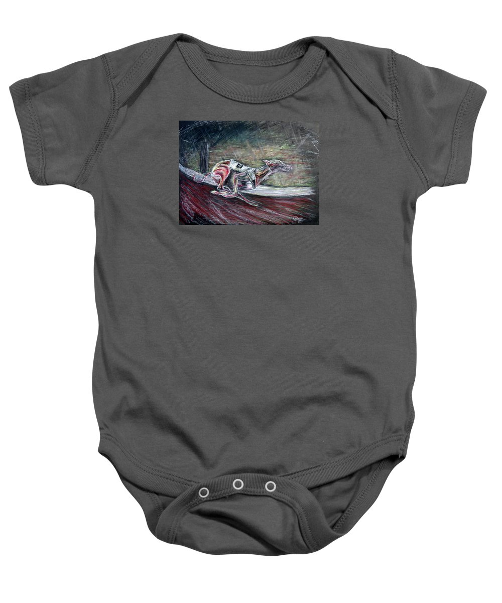 Dog Baby Onesie featuring the drawing Greyhound Number Three by Tom Conway
