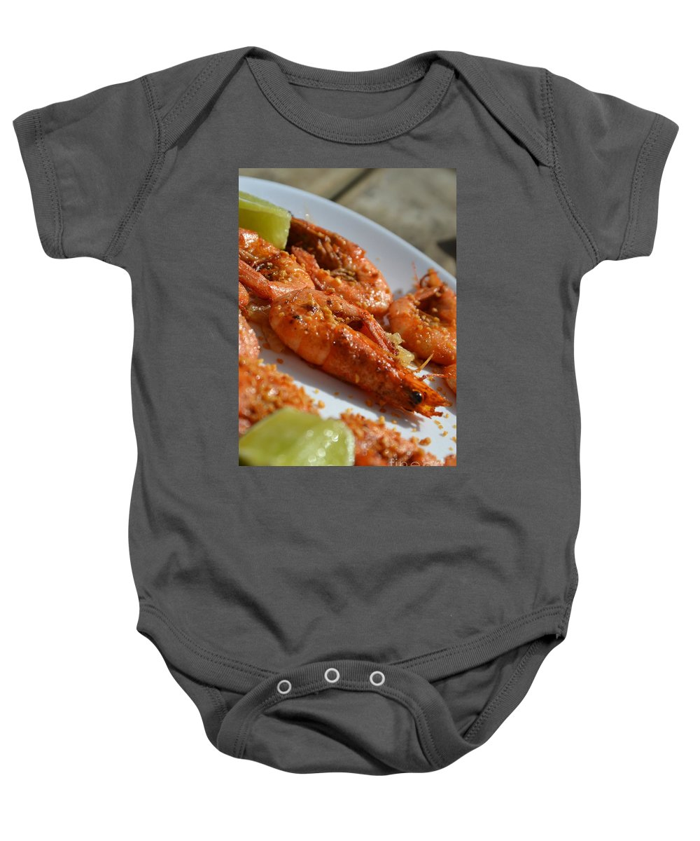 Shrimp Baby Onesie featuring the photograph Grilled Crustacean by Stephanie Guinn
