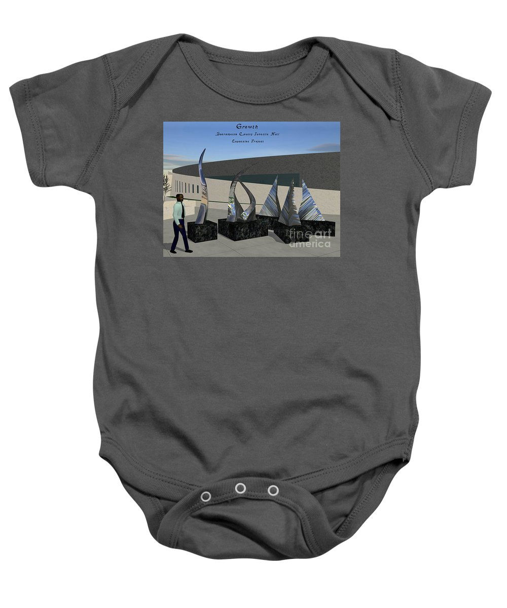 Growth Baby Onesie featuring the sculpture Growth by Peter Piatt