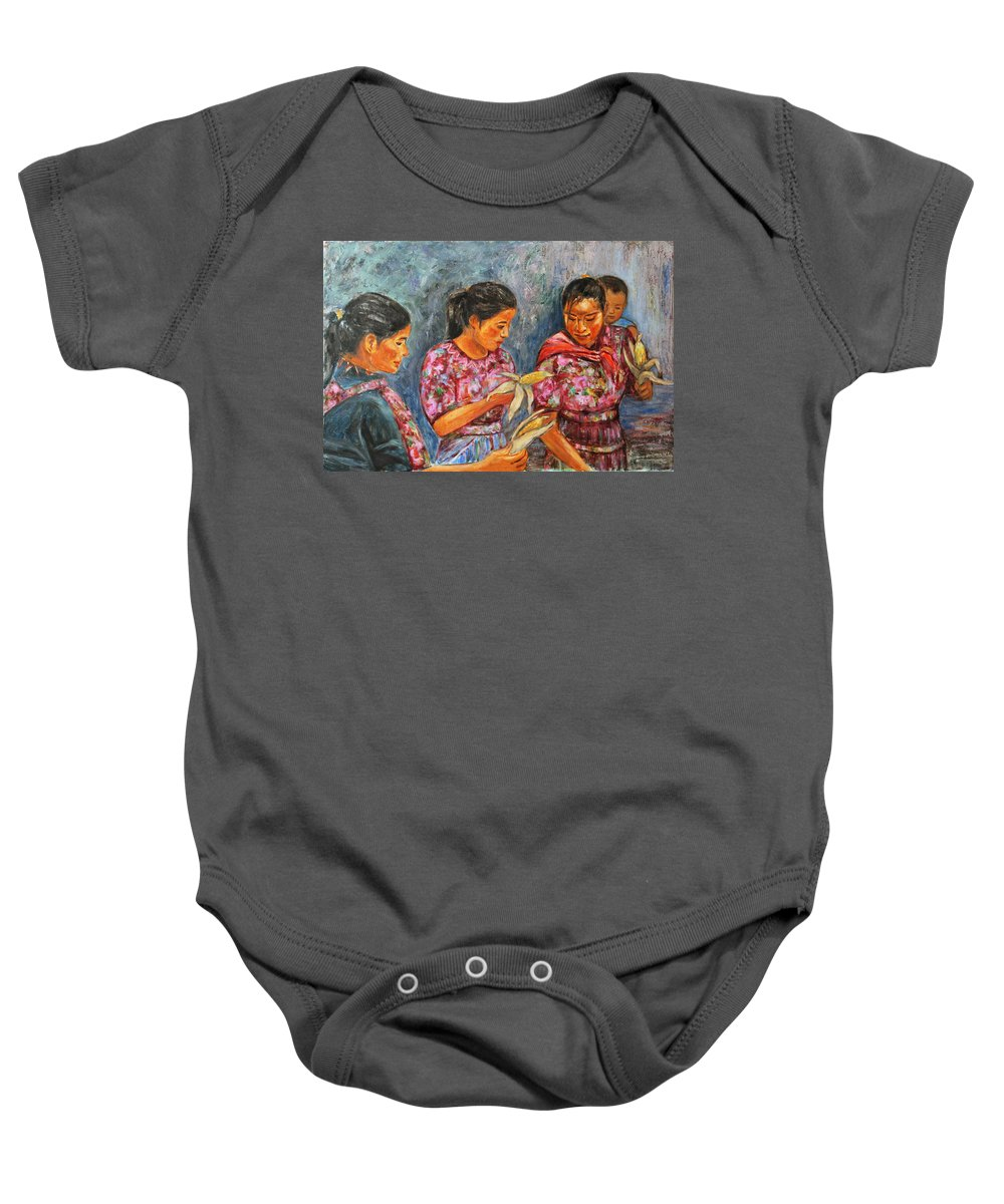 Latin American Baby Onesie featuring the painting Guatemala Impression IIi by Xueling Zou