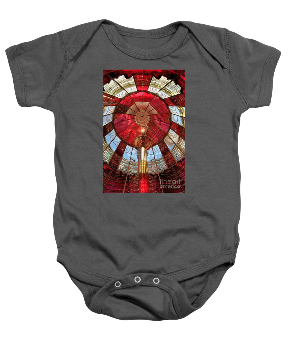 First Order Fresnel Lens Baby Onesie featuring the photograph Guiding Red by Adam Jewell