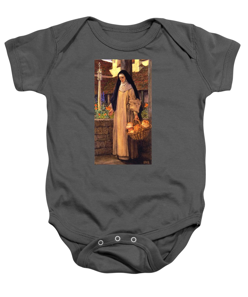 Eleanor Fortescue Brickdale Baby Onesie featuring the digital art Guinevere by Eleanor Fortescue Brickdale