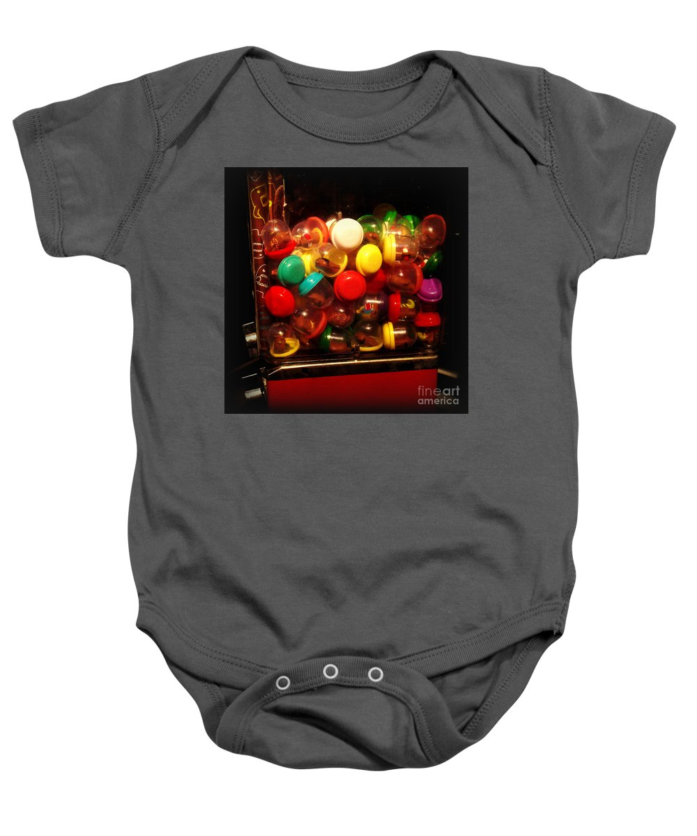 Nostalgia Baby Onesie featuring the photograph Series - Gumball Memories - Childhood Fun by Miriam Danar