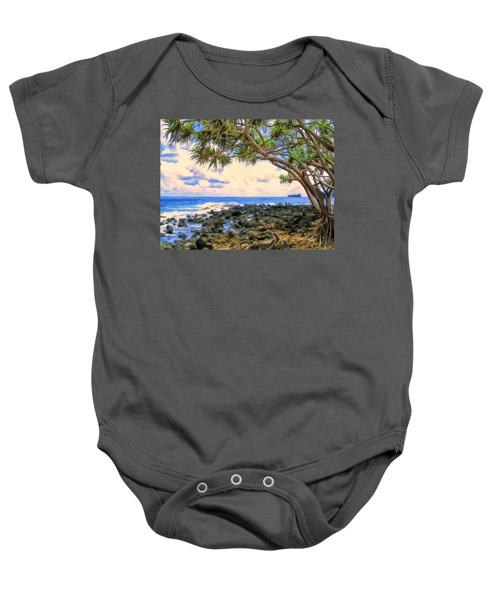 Hawaii Baby Onesie featuring the painting Hala Trees At Ka'anae Point by Dominic Piperata