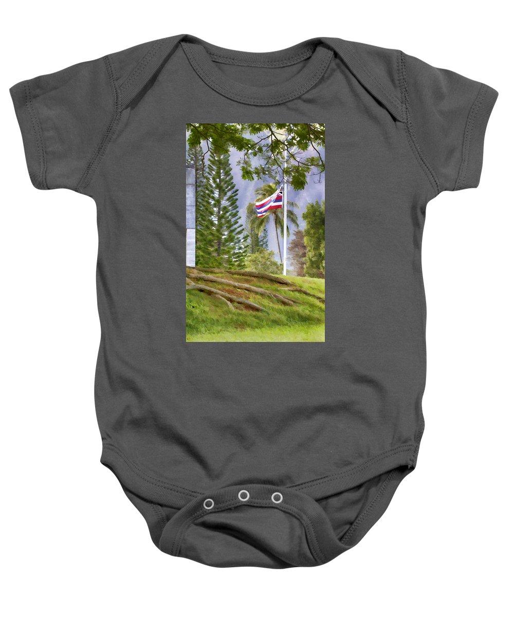 Hawaiian Baby Onesie featuring the photograph Half Mast by Douglas Barnard