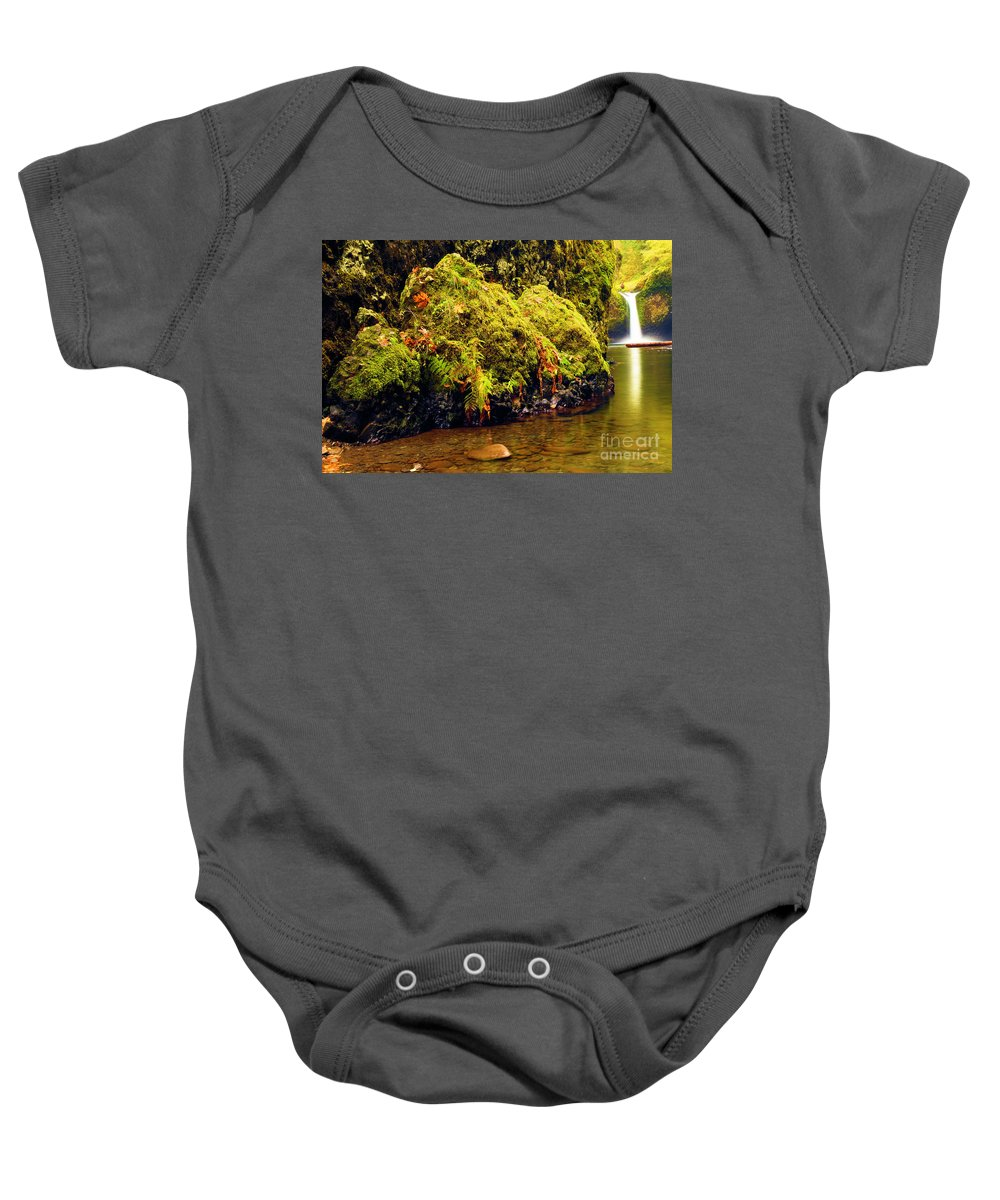 Lower Punchbowl Falls Baby Onesie featuring the photograph Half The Punchbowl by Adam Jewell