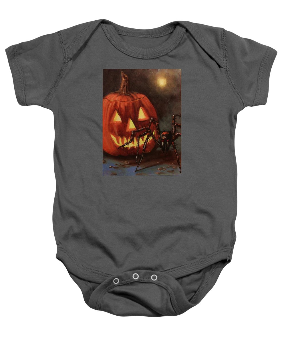 Halloween Baby Onesie featuring the painting Halloween Spider by Tom Shropshire