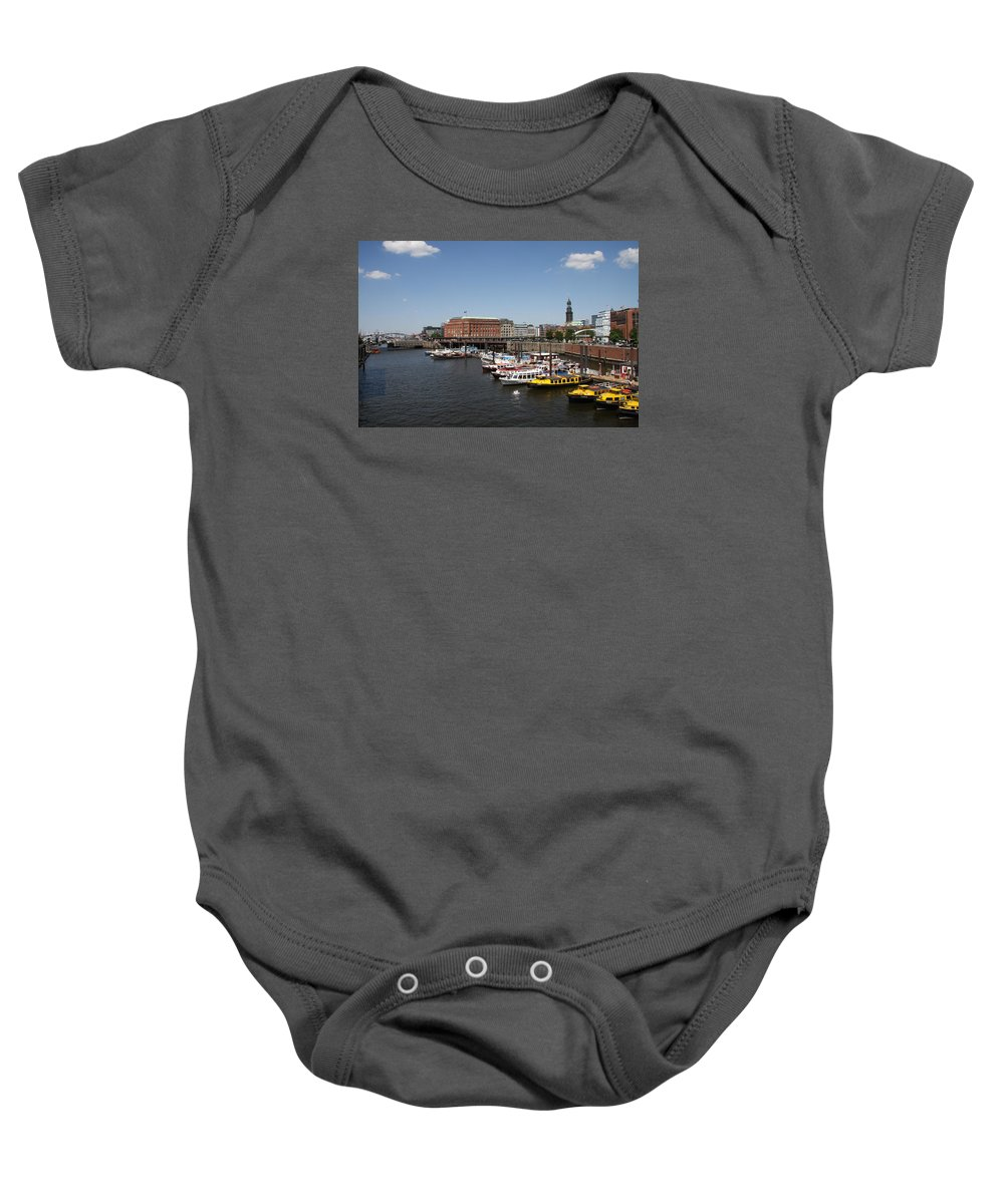 Hamburg Baby Onesie featuring the photograph Hamburg Port With Fleet by Christiane Schulze Art And Photography