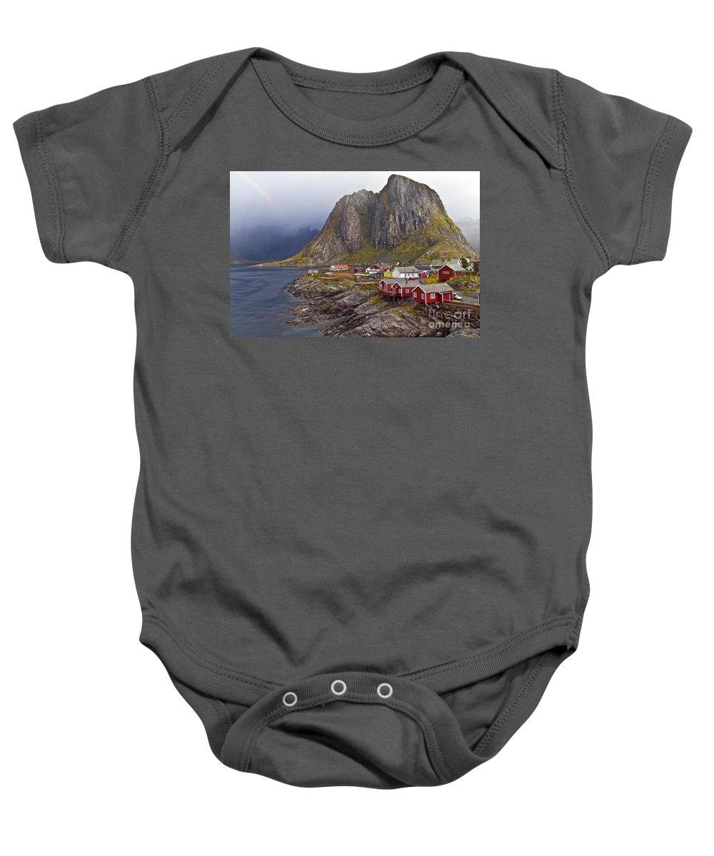Baby Onesie featuring the photograph Hamnoy Rorbu Village by Heiko Koehrer-Wagner