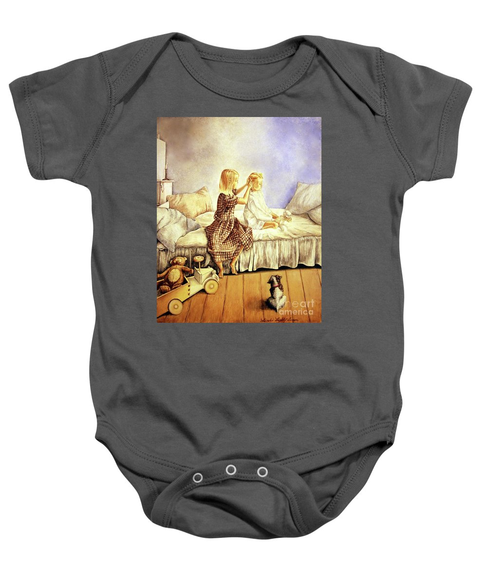 Animals Baby Onesie featuring the painting Hands Of Devotion - Childhood by Linda Simon