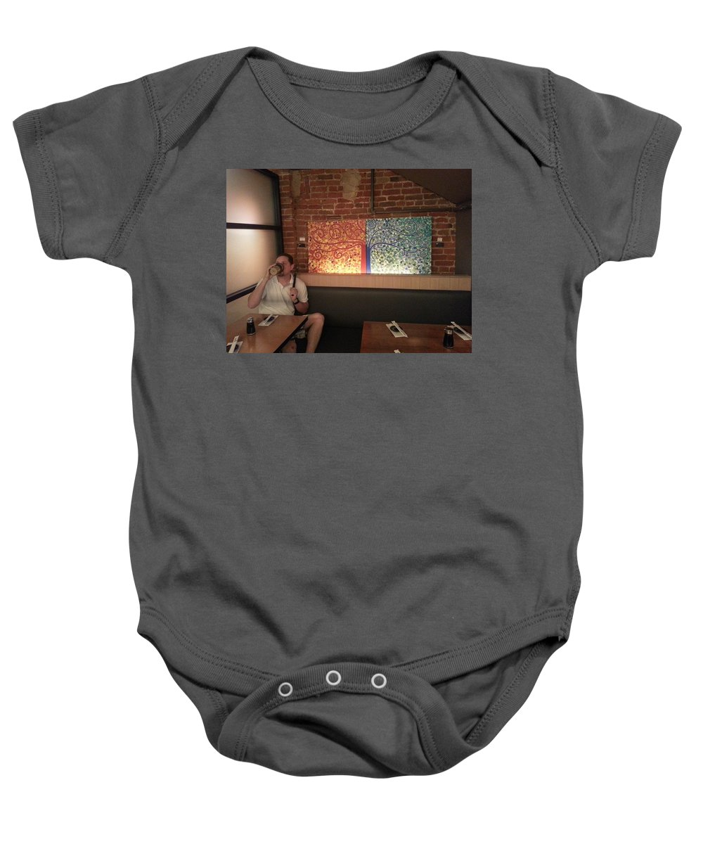 Image Not For Sale Baby Onesie featuring the mixed media Hapa Sushi Display 1 by Angelina Vick