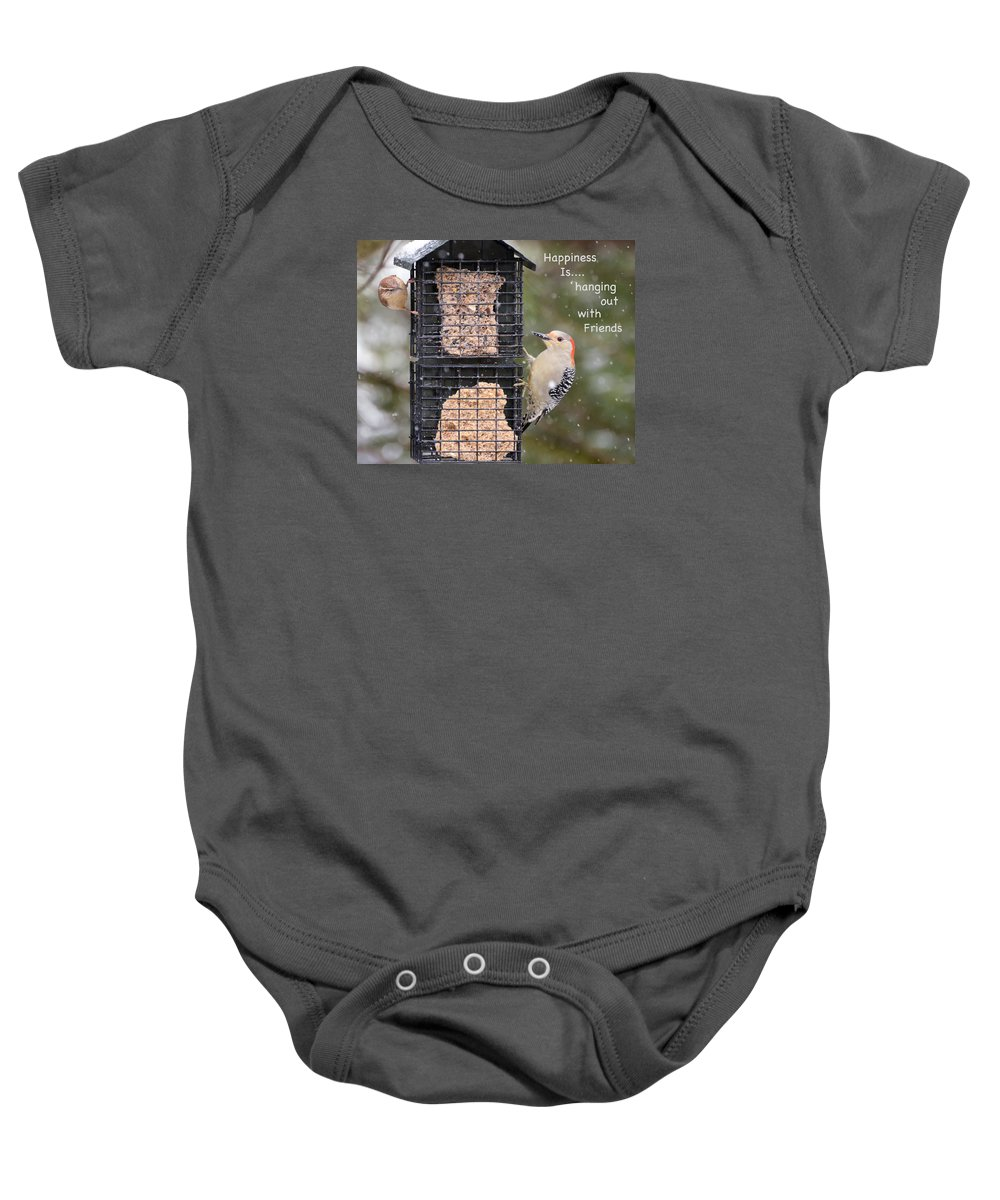 Words Baby Onesie featuring the photograph Happiness Is Hanging Out With Friends by Kerri Farley