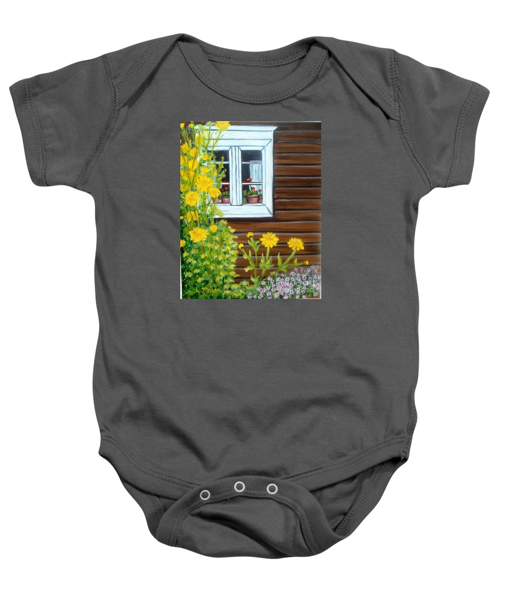 Window Baby Onesie featuring the painting Happy Homestead by Laurie Morgan