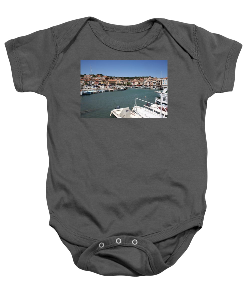 Harbor Baby Onesie featuring the photograph Harbor Cassis by Christiane Schulze Art And Photography