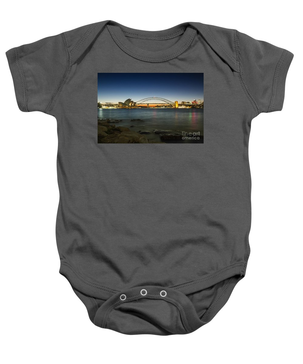 Sydney Baby Onesie featuring the photograph Harbour Night by Andrew Paranavitana