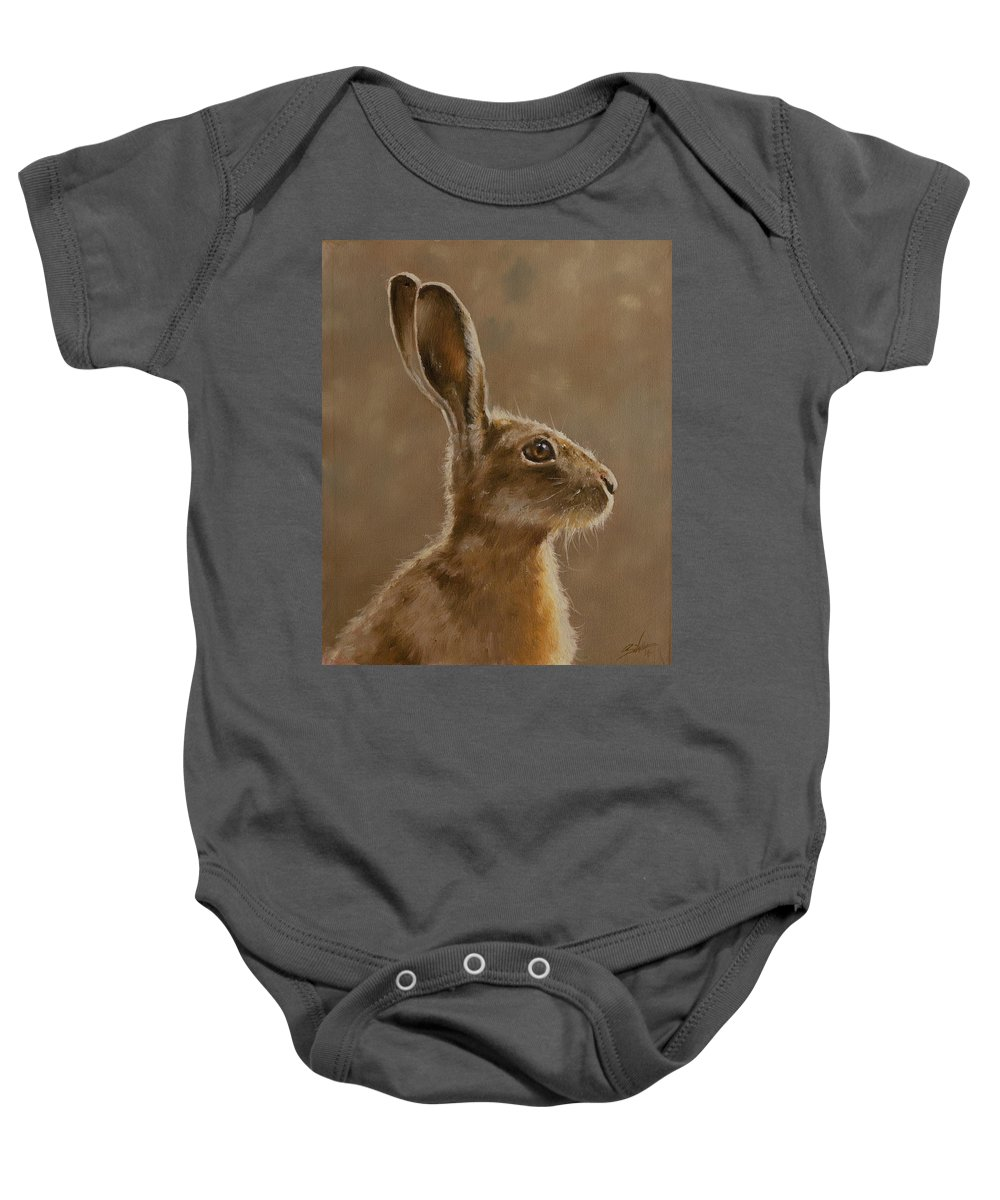 Hare Baby Onesie featuring the painting Hare Portrait I by John Silver