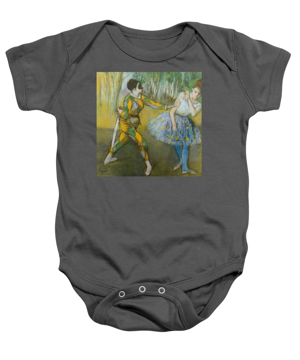Art; Painting; 19th Century Painting; Europe; France; Degas Baby Onesie featuring the pastel Harlequin And Columbine by Edgar Degas