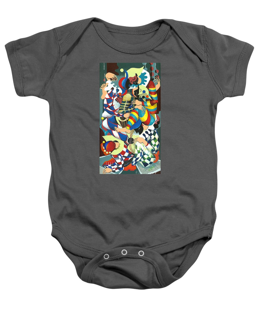 Canvas Prints Baby Onesie featuring the painting Harlequins Acting Weird - Why?... by Elisabeta Hermann