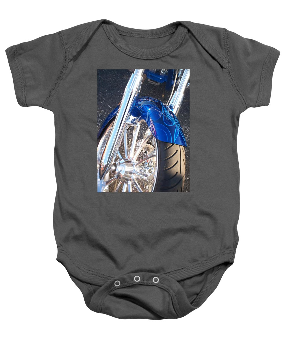 Motorcycles Baby Onesie featuring the photograph Harley Close-up Blue Flame by Anita Burgermeister