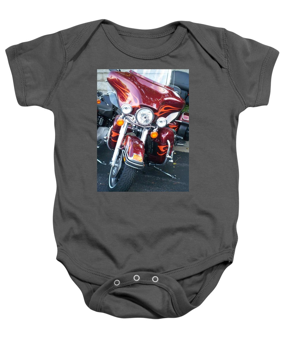 Motorcycles Baby Onesie featuring the photograph Harley Red W Orange Flames by Anita Burgermeister
