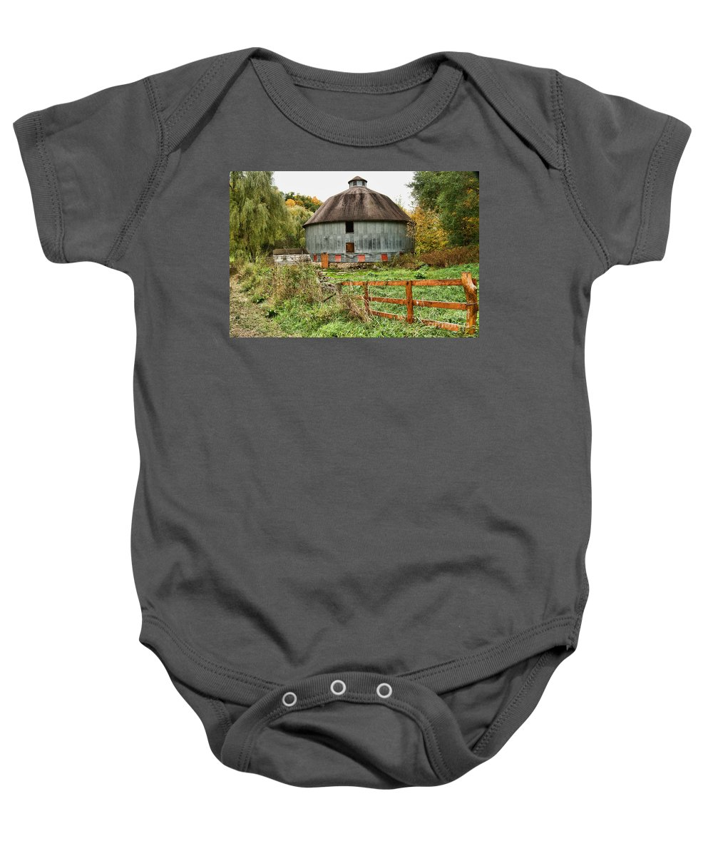 George Harris Baby Onesie featuring the photograph Harris Barn by Tommy Anderson