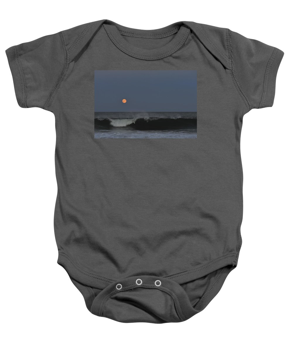 Harvest Moon Baby Onesie featuring the photograph Harvest Moon Seaside Park Nj by Terry DeLuco