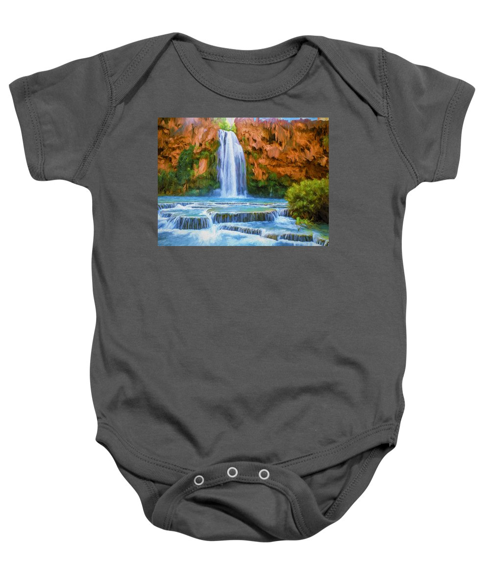 Fine Art Baby Onesie featuring the painting Havasu Falls by David Wagner