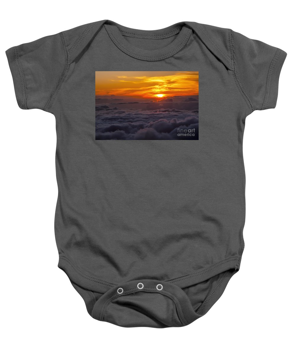 Haleakala National Park Volcano Area Maui Hawaii Evening Sky Skies Cloud Clouds Sunset Sunsets Sun Cloud Clouds Parks Baby Onesie featuring the photograph Evening Colors by Bob Phillips