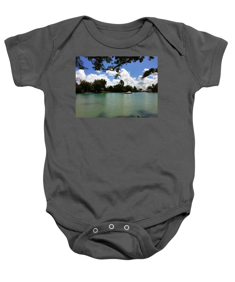 Hawaiian Landscape Baby Onesie featuring the digital art Hawaiian Landscape 2 by D Preble