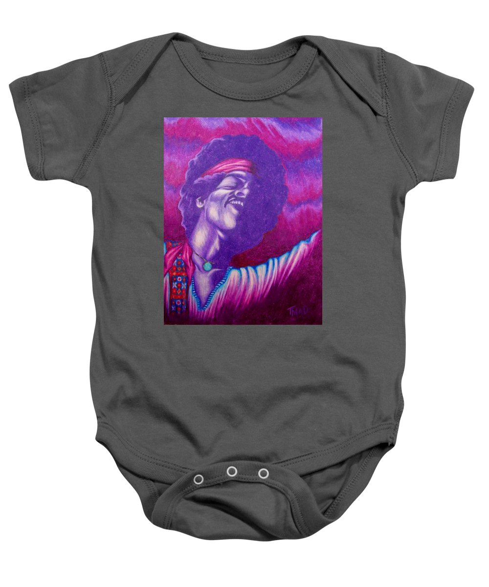 Michael Baby Onesie featuring the drawing Haze by Michael TMAD Finney