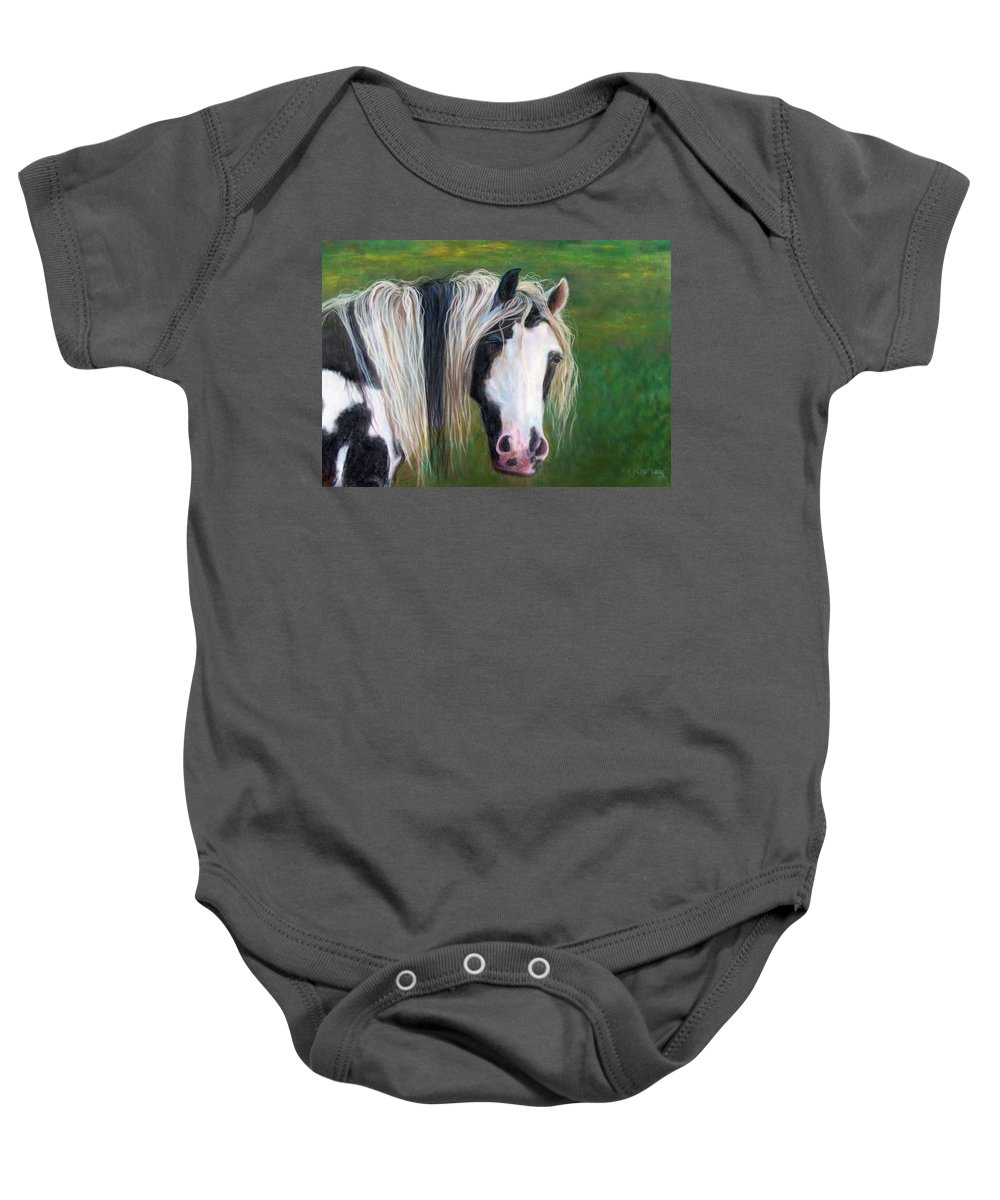 Heart Horse Painting Baby Onesie featuring the painting Heart by Karen Kennedy Chatham