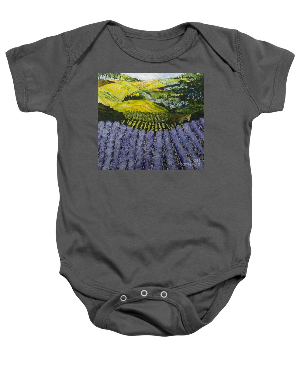 Landscape Baby Onesie featuring the painting Heavenly Valley by Allan P Friedlander