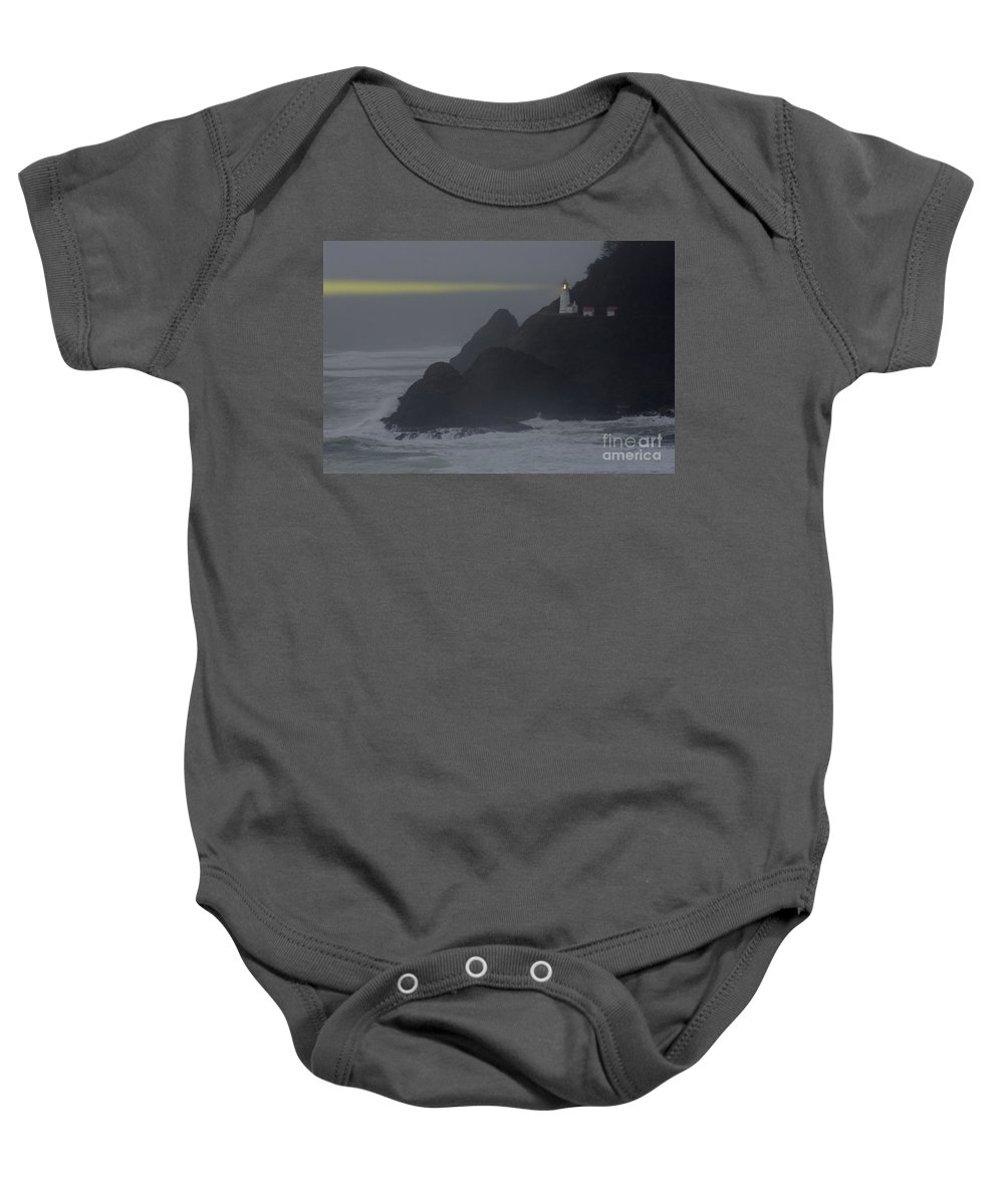 Lighthouse Baby Onesie featuring the photograph Heceta Head Lighthouse Oregon Coast by Bob Christopher