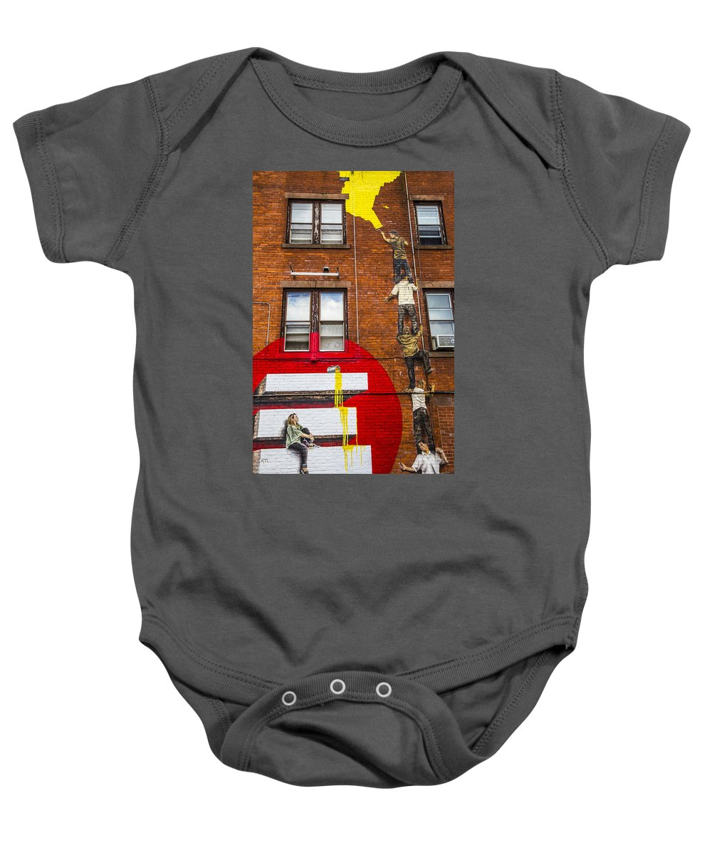 Artwork Baby Onesie featuring the photograph Help With The Painting by Karol Livote