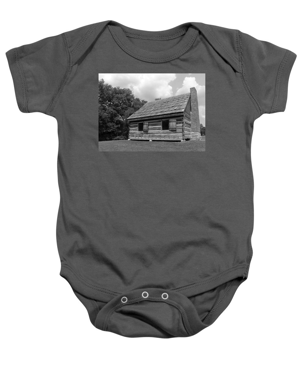 Black And White Baby Onesie featuring the photograph Hermitage Farmhouse 1 by Denise Mazzocco
