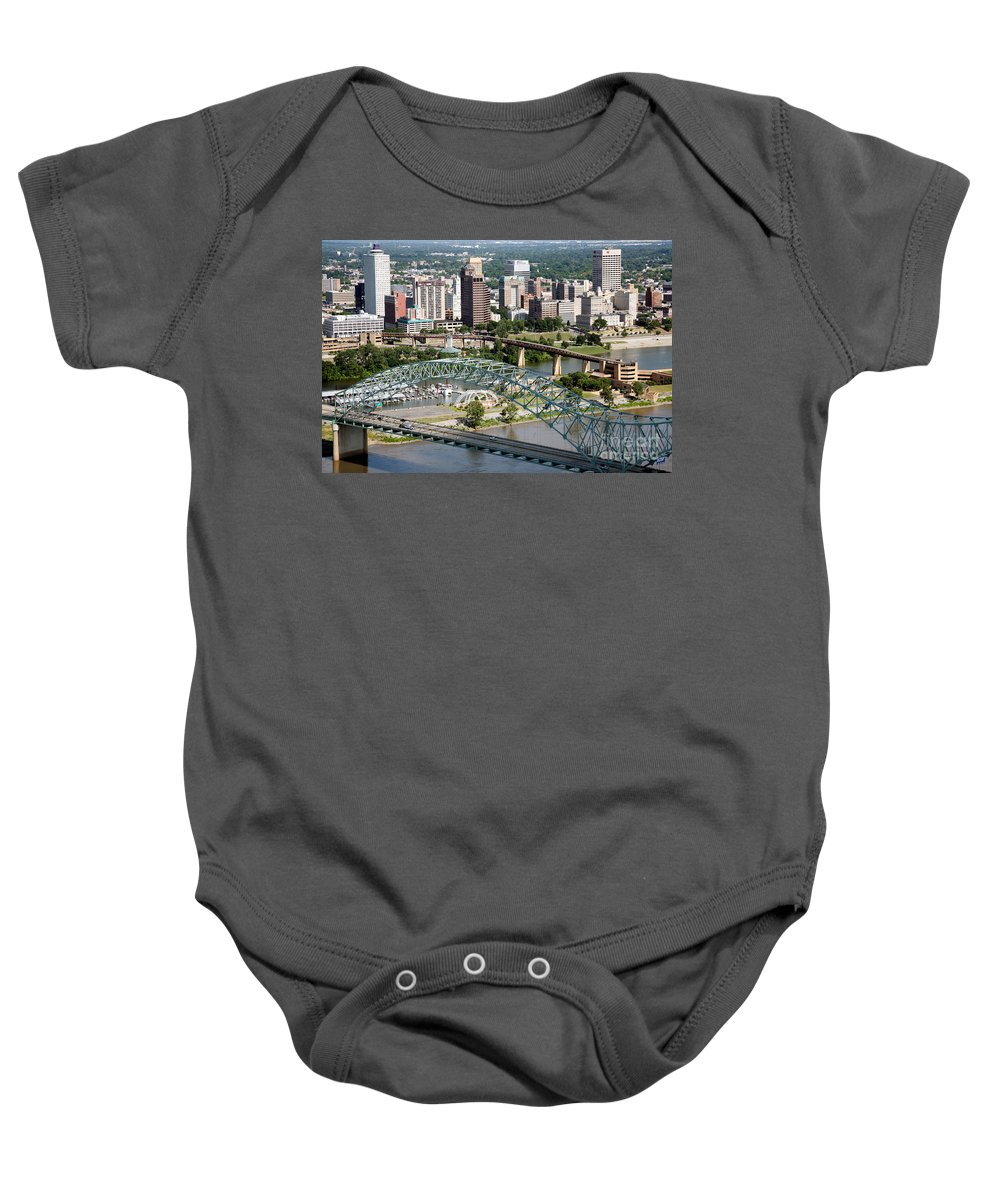 100 North Main Building Baby Onesie featuring the photograph Hernando-desoto Bridge Memphis by Bill Cobb
