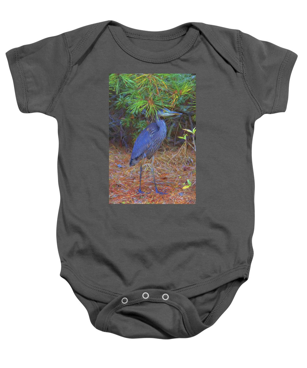 Bird Baby Onesie featuring the photograph Hiding In The Pine Needles by Alice Gipson