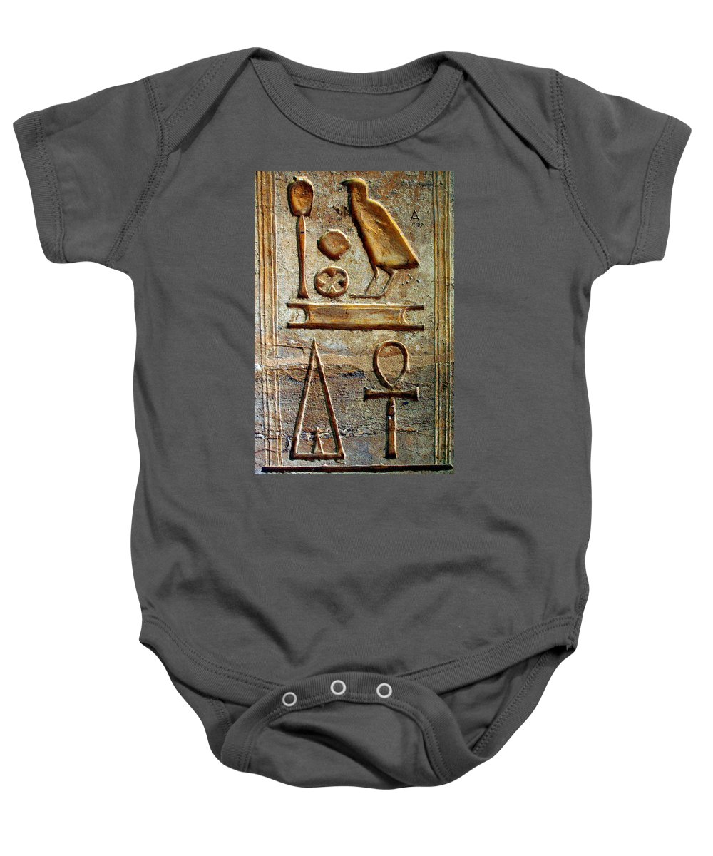 Hieroglyphic Baby Onesie featuring the photograph Hieroglyphics At Amada by Laurel Talabere