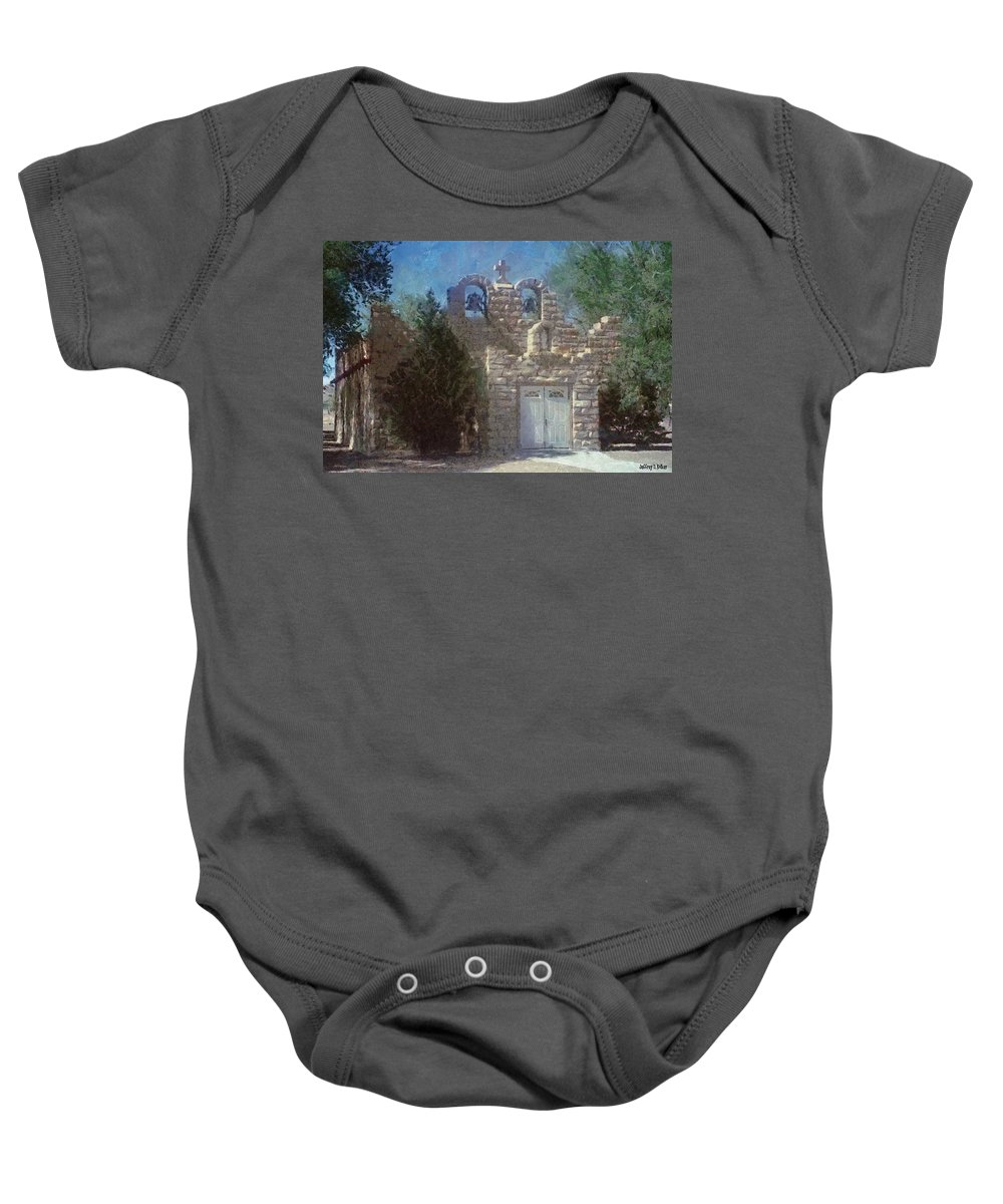 Architecture Baby Onesie featuring the painting High Desert Church by Jeffrey Kolker