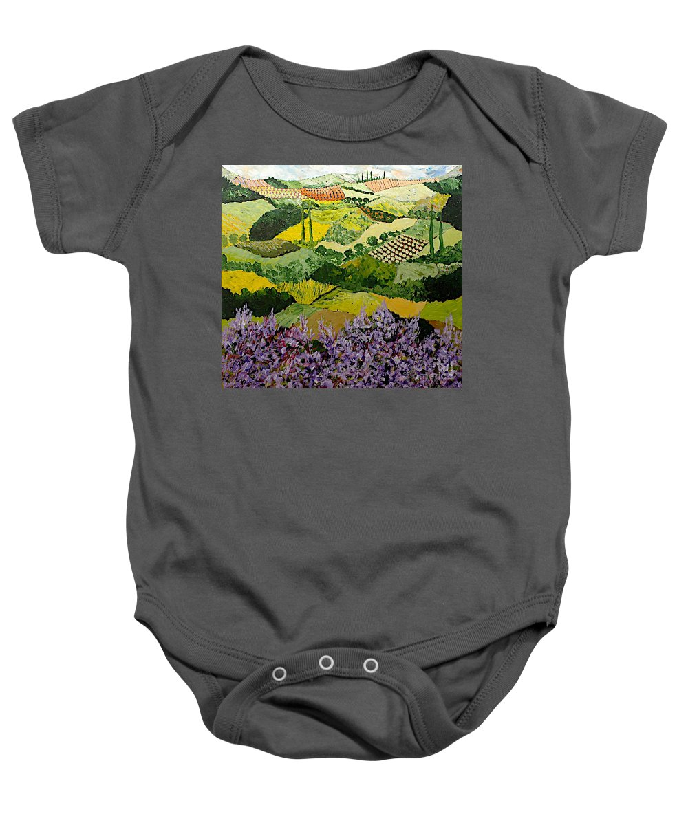Landscape Baby Onesie featuring the painting High Ridge by Allan P Friedlander