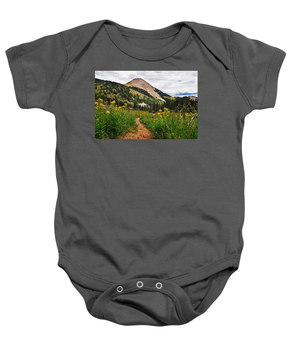 3scape Baby Onesie featuring the photograph Hiking In La Sal by Adam Romanowicz