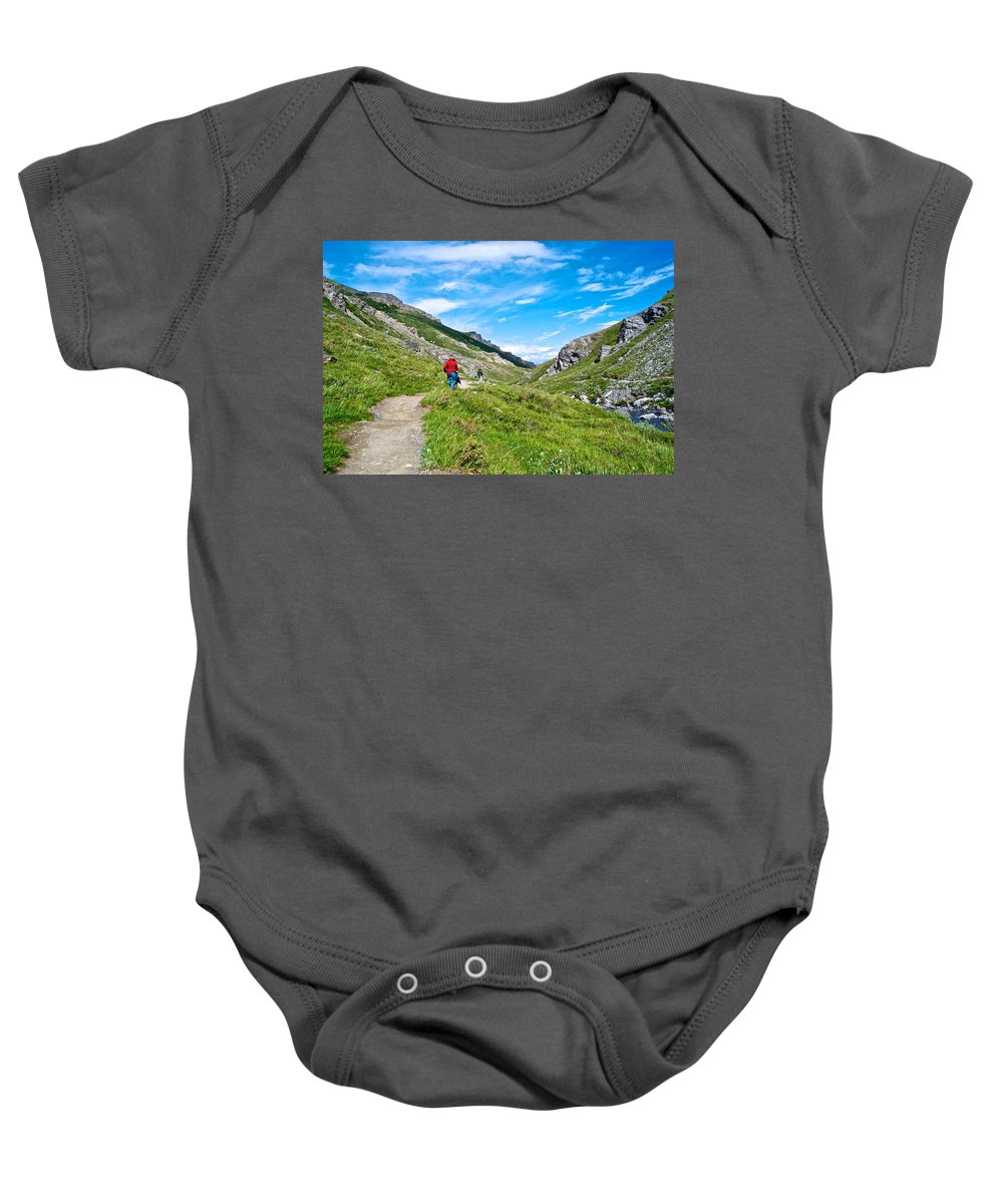 Hiking On Savage River Trail In Denali Np Baby Onesie featuring the photograph Hiking On Savage River Trail In Denali Np-ak  by Ruth Hager
