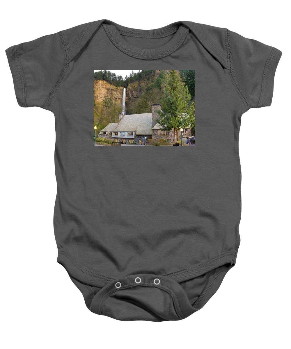 Historic Baby Onesie featuring the photograph Historic Multnomah Falls Lodge by Jit Lim