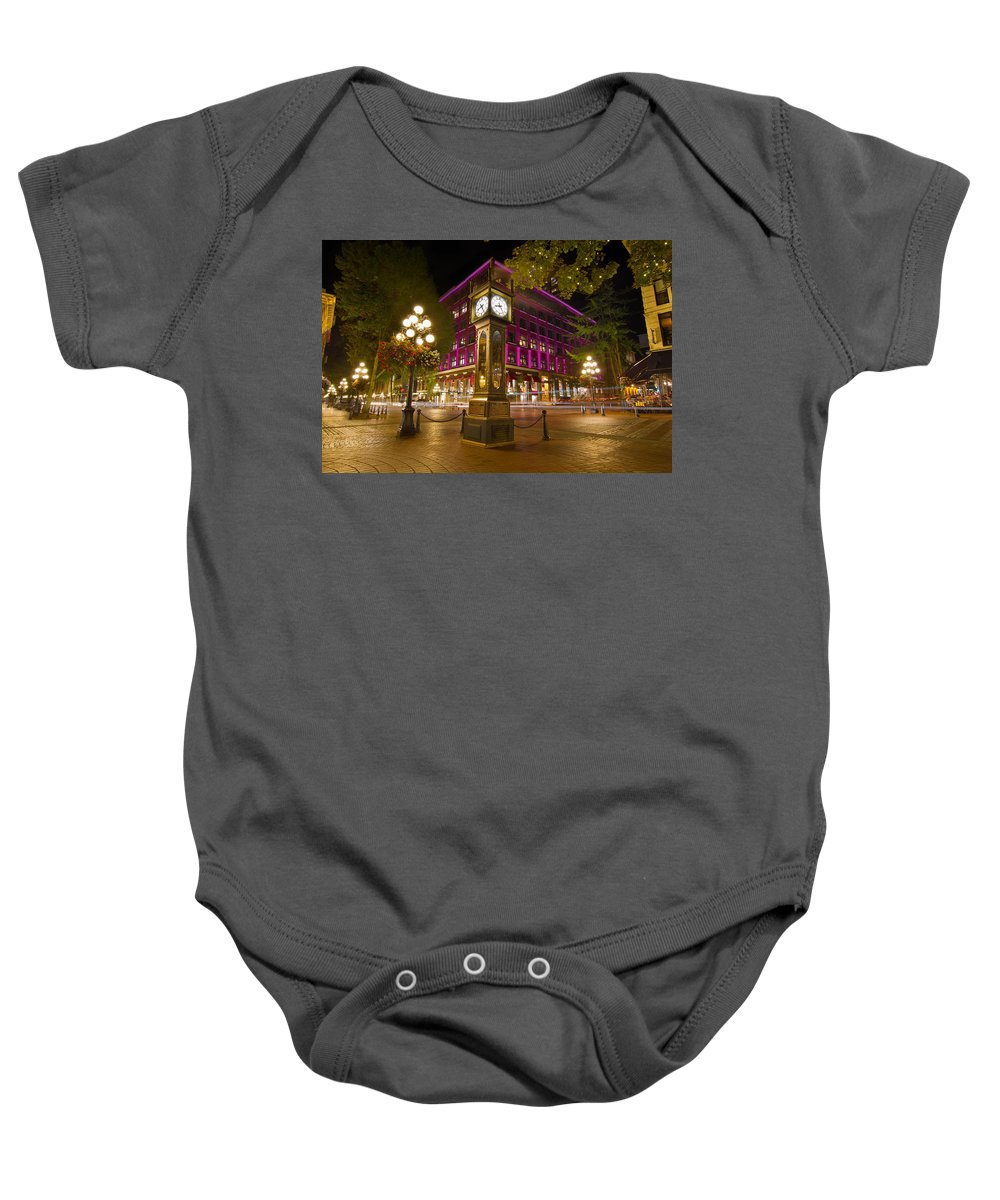 Historic Baby Onesie featuring the photograph Historic Steam Clock In Gastown Vancouver Bc by Jit Lim