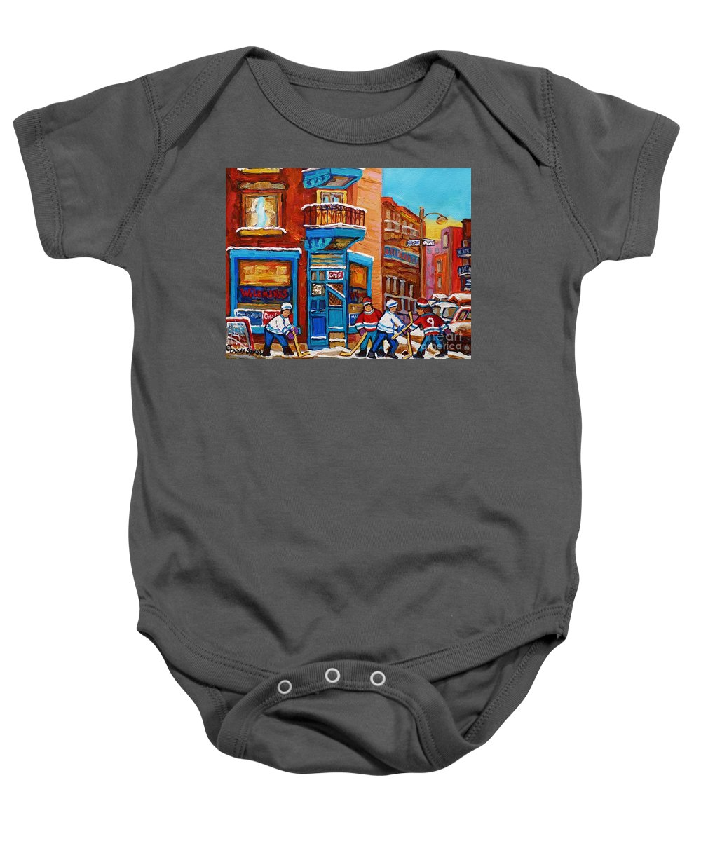 Hockey Baby Onesie featuring the painting Hockey Stars At Wilensky's Diner Street Hockey Game Paintings Of Montreal Winter Carole Spandau by Carole Spandau