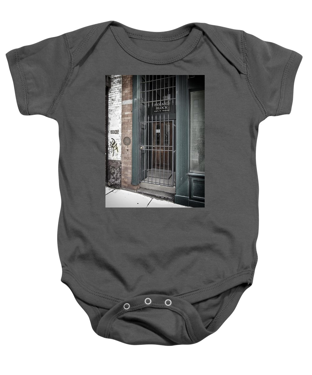 Entrance Baby Onesie featuring the photograph Holmes Block Building by Daniel Hagerman