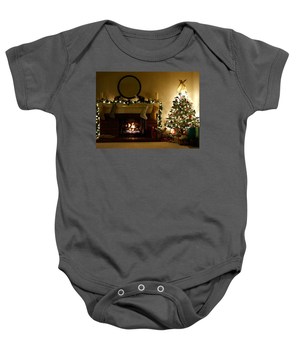Home For The Holidays Baby Onesie featuring the photograph Home For The Holidays by Ellen Henneke